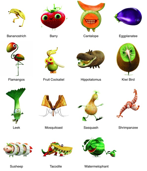 Some of the food animals in the movie cloudy with a chance of meatballs 2
