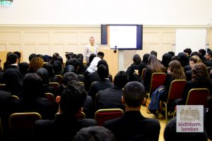 Jonathan Portes Delivers A Lecture To Students At Newham Collegiate Sixth Form Centre (The NCS)