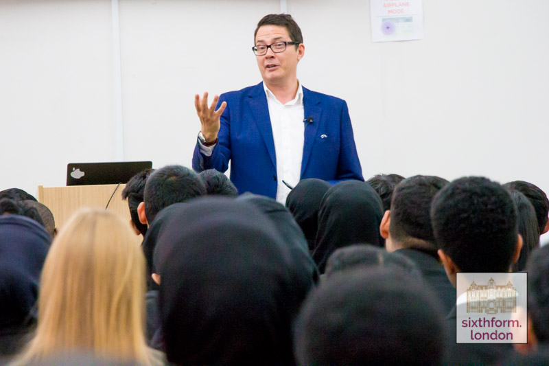 Ben Page, Chief Executive Of Pollsters IPSOS MORI Delivers A Talk To Newham Collegiate Sixth Form Centre (The NCS) Students – Video & Photos