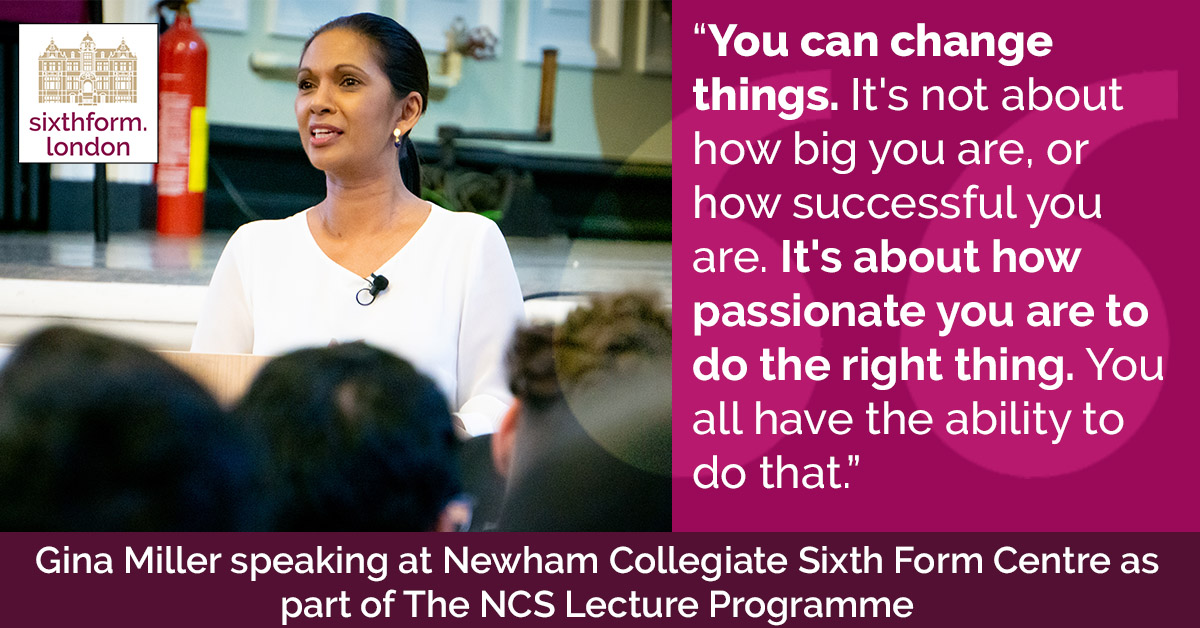 Quote By Gina Miller, Brexit Campaigner, speaking at Newham Collegiate Sixth Form Centre (The NCS)