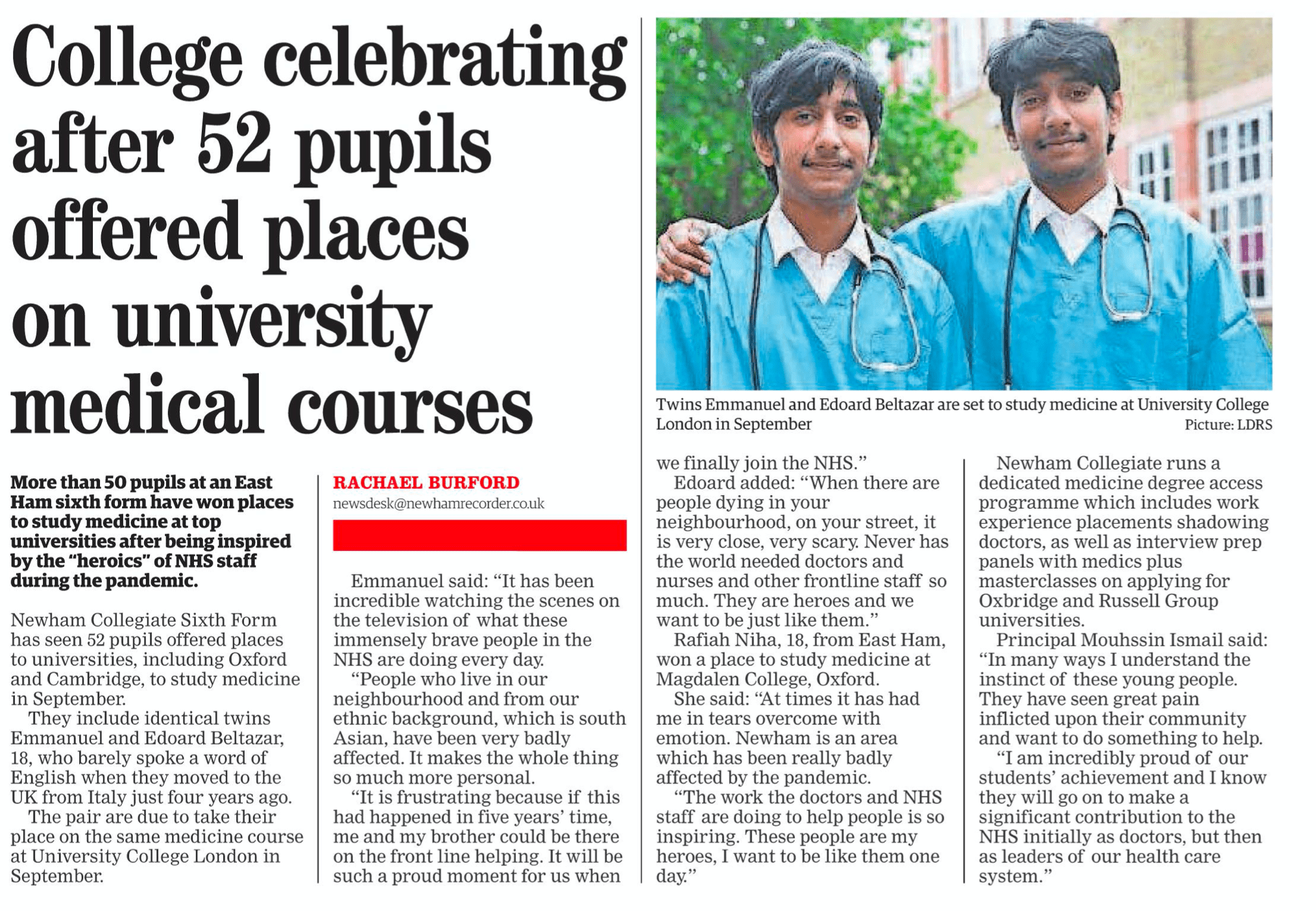 NCS Med School In The Newham Recorder