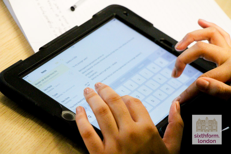 Apple iPad In Use By Student At Newham Collegiate Sixth Form Centre