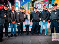 Meeting NYPD Officers in Times Square on our Ivy League Preparation Programme Trip