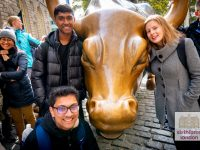 Exploring New York on our Ivy League Preparation Trip - At the financial district's famous bull statue