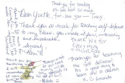 thank you note kids self defence training
