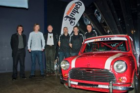The team pose for photos at the Cooper's unveiling. L-R: Bryan Hartley, Nelson Hartley, Rob Henderson (grandson of Burt Munroe), Garry Grant, Guy Griffith, Garry Orton. Photo by Mike Wilson ©2011. All Rights Reserved.
