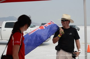 Brenda Grant and Graham Wilson get the flag out. Photo by Mike Wilson ©2012. All Rights Reserved.