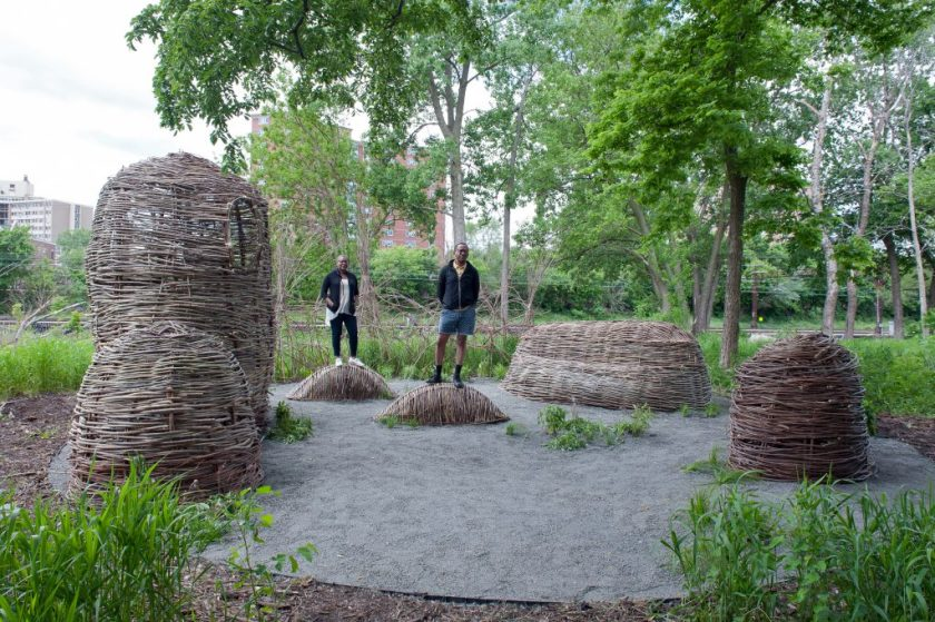 Fo Wilson and Norman Teague in the final installation of Sounding Bronzeville, Burnham Wildlife Corridor, Chicago Park District, 2016. Photo by Sandra Steinbrecher.