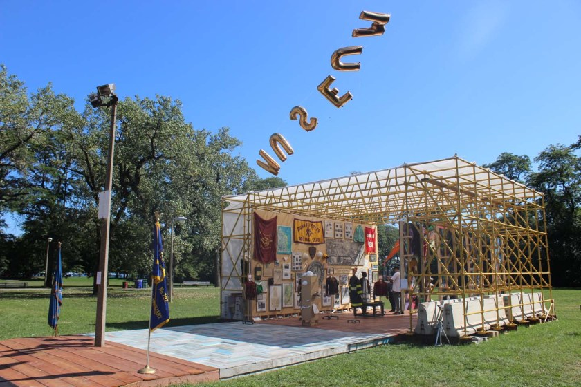 Faheem Majeed, Floating Museum, (Chicago, IL), Summer 2016, Floating Museum Pavilion at Calumet Park Chicago, 2016, Mixed Media. Image courtesy of the artist.