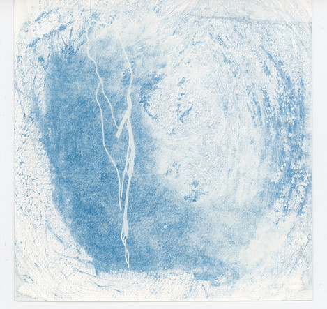 An image of medium blue and white mark making.