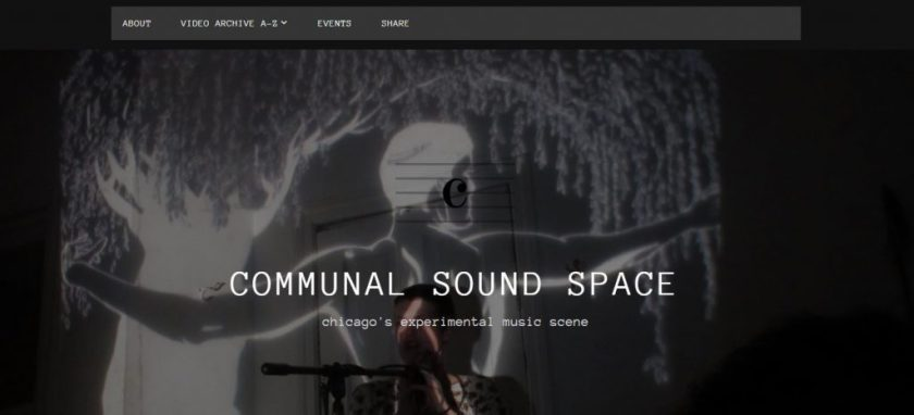 The landing page of Communal Sound Space features images of performances that capture the visual experience of a DIY show. Here, Emme Williams performs as Fastness at The Compound in Little Village.