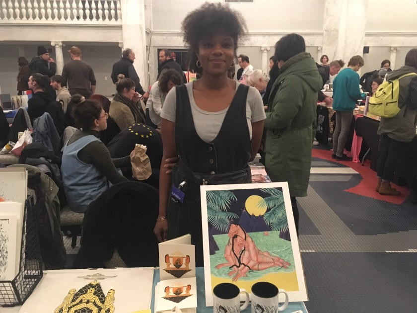 Artist Jamiyla Lowe at the Chicago Art Book Fair.