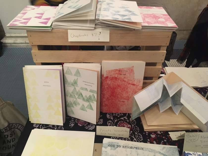 Items from the Meekling Press table at the Chicago Art Book Fair.