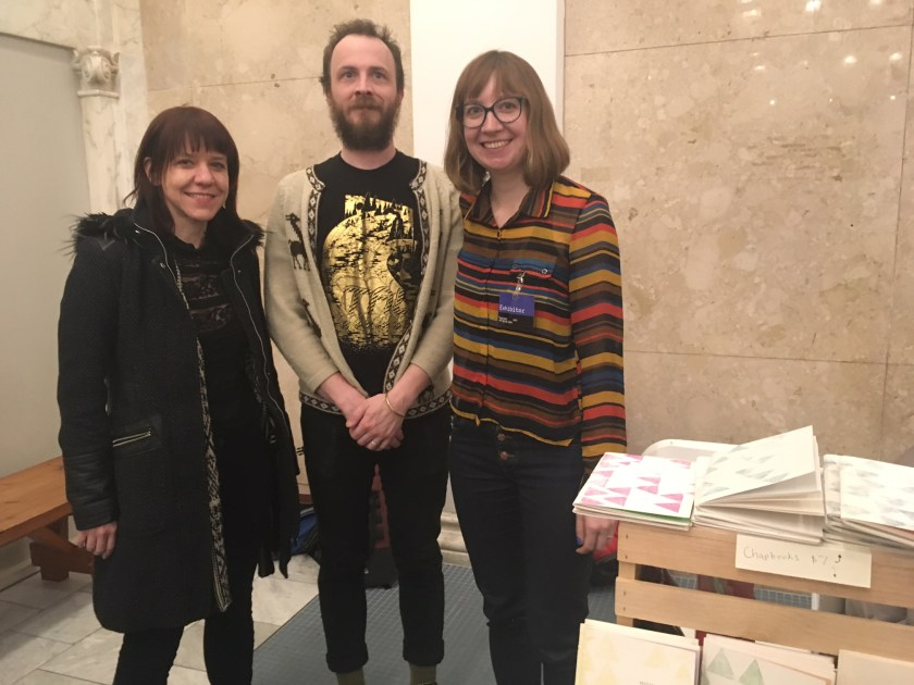 Meekling Press founders from right to left: Anne Yoder, Nicholas Davis, and Rebecca Elliot at the Chicago Art Book Fair.
