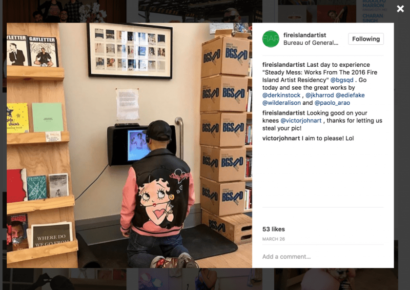 Courtesy of the artist. A screen grab from Instagram where an individual is seen kneeling in front of a screen with headphones on. On the right side of the image is a correspondence between the figure and the admin who posted the photo.