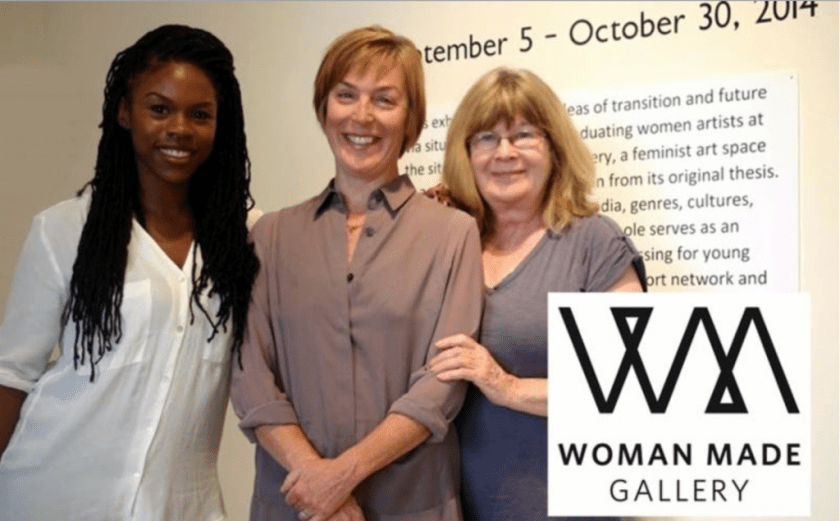 Sydney Stoudmire, Claudine Isé, and Beate Minkowski of Woman Made Gallery, 2015. Photo from UIC's Art and Art History Department.