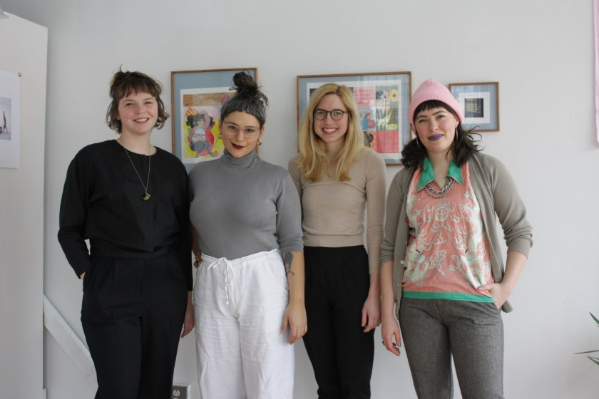 Hume Chicago is a storefront gallery space run by women and queer artists. Here, Katy Albert, Fontaine Capel, Caroline Walp, and Krystal DiFronzo stand together in the gallery space. Photo by Hannah Siegfried