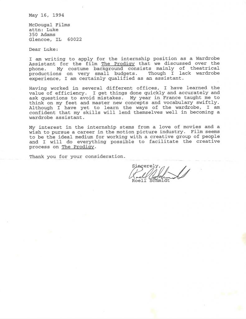 Letter to apply for internship with The Prodigy. Image courtesy of the artist.