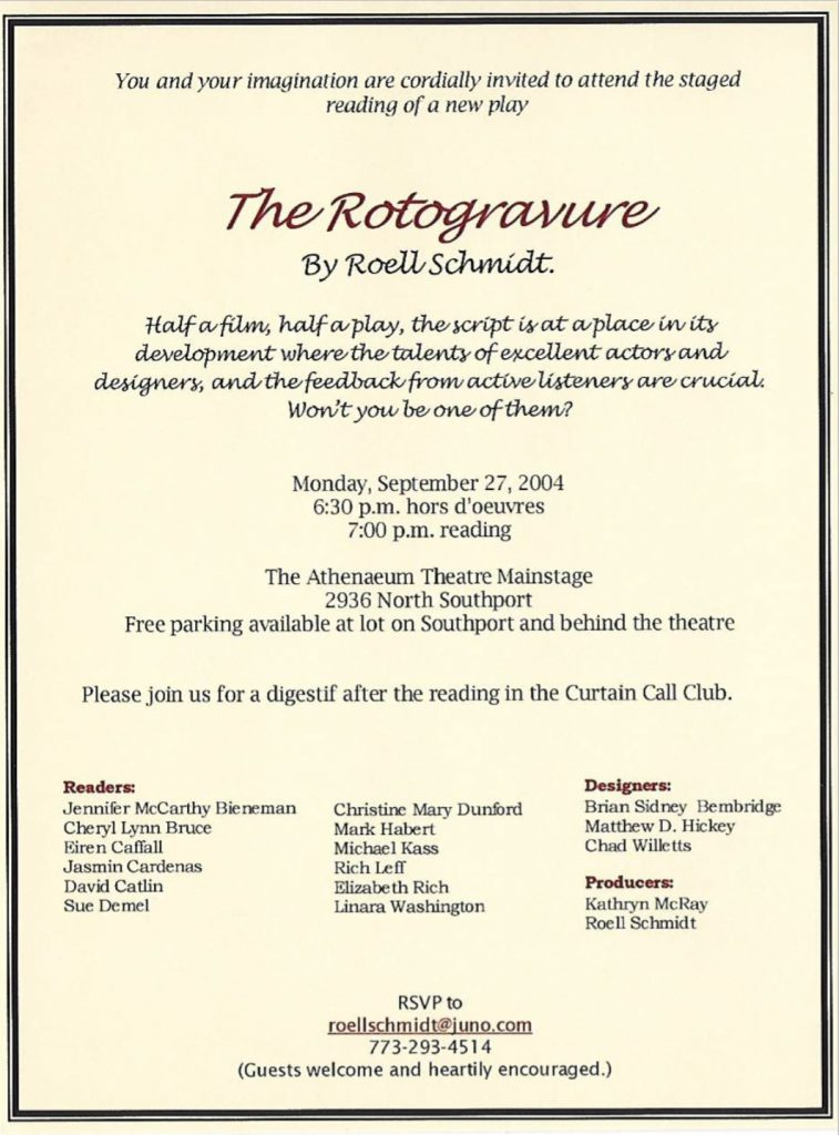 Invitation to a staged reading of The Rotogravure. Image courtesy of the artist.