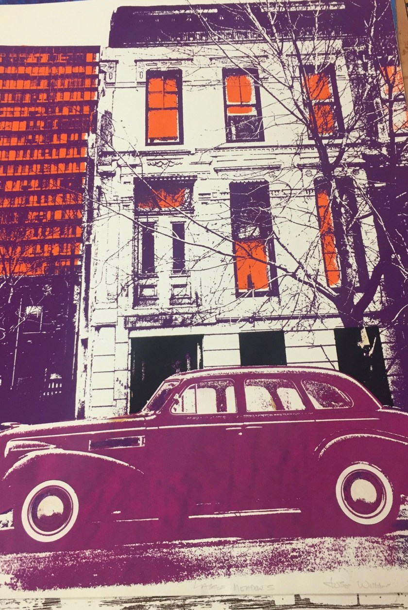 "Jose Williams. ""Lake Meadows,"" 1975. An old-fashioned coupe parked in front of a tall apartment building, portrayed in whites, oranges, and purples. Illinois Institute of Technology, Paul Galvin Library, Special Collections ."