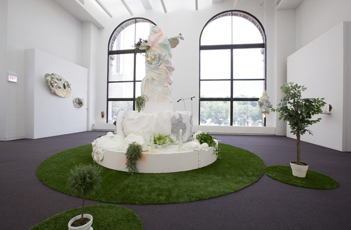 """Installation view of """"here and there pink melon joy,"""" Sabina Ott, 2014, presented at the Chicago Cultural Center. Image credit: Claire Britt."""