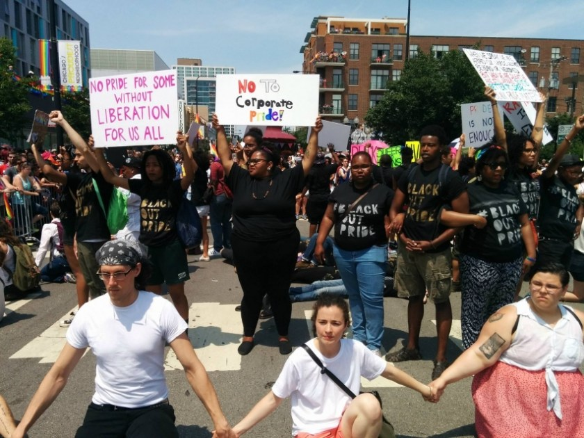 Photo of the 2015 BlackOut Pride Demonstration in Boystown during Pride Week in Chicago.