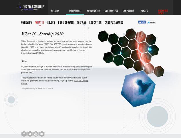 Image: Webpage for Dr. Mae Jemison's 100 Year Starship initiative.