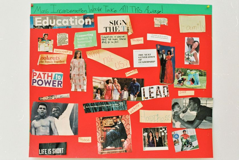 "Image: A red vision board created by a BBF youth participant. The heading reads: ""Mass Incarceration Would Take All This Away!"" Below, there are magazine cutouts of famous African-Americans, including Barack and Michelle Obama, Muhammad Ali, and Jay-Z, as well as average people together in loving postures. Interspersed amongs the pictures are words and phrases like, ""Peace,"" ""LEAD,"" and ""Why not us?"" Photo by Eric K. Roberts."