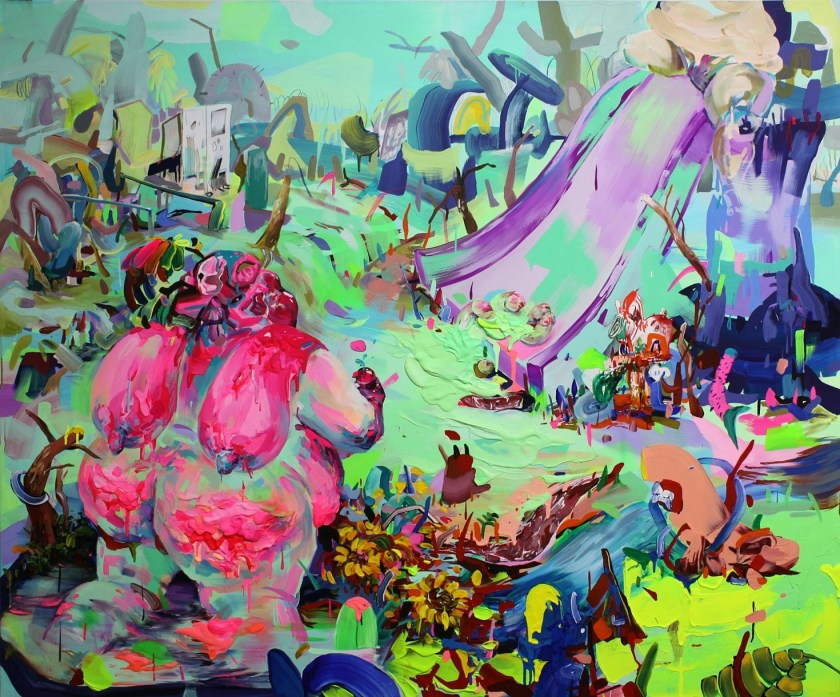"Image: ""Booty Booby Call"" features a very colorful, very neon painting. It is a landscape with various shapes with many colors including neon green, pink, red, purple and teal all around the composition. A colorful bright pink figure with breasts is facing away from the viewer on the left hand side. The breasts are thrown over the shoulders and resting on the back. There are sunflowers and trees surrounding the figure and dotted throughout the landscape. Image courtesy of the artist."