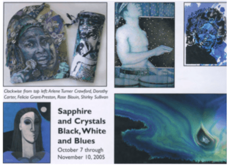 Exhibition postcard from Sapphire and Crystals: Black, White and Blues, 2005. Courtesy of Glass Curtain Gallery.