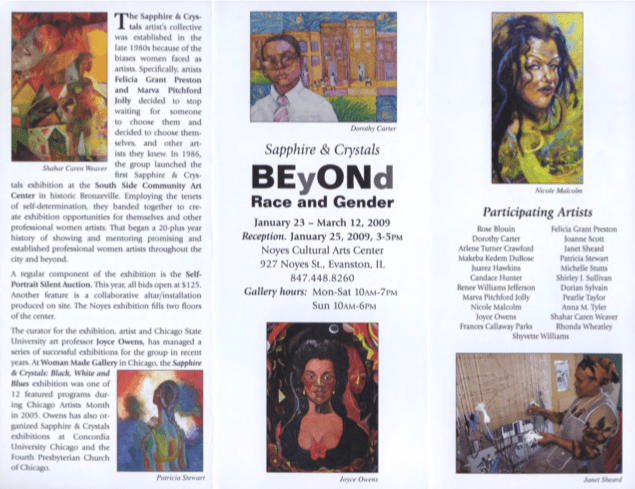 Exhibition pamphlet from BEyONd Race and Gender at the Noyes Cultural Arts Center in 2009.