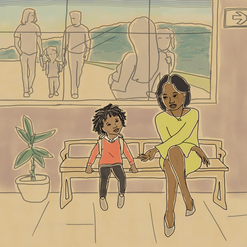 Image: Illustration from Missing Daddy by bria royal. The book's protagonist sits on a bench with her teacher. Out the window behind them, families stroll by. Image courtesy of the artist.
