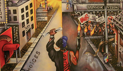 "Image: The cover art for the first Kid Culture mixtape, ""Choices."" A young man is divided in half: his right half wearing a Chicago Bulls jersey and firing a gun, his left half wearing a graduation cap and gown and holding a diploma. Stateville Prison can be seen in the background on the right hand side, and university buildings can be seen on the left. Photo courtesy of Patrick Pursley."