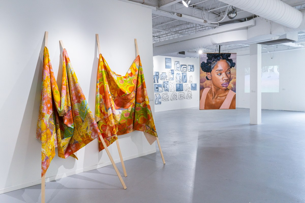Panoramic view of HPAC's Kanter McCormick Gallery, installation of the Tokyo Show: Black and Brown are Beautiful. Features Brandon Breaux's 2017 painting Pilot 11.