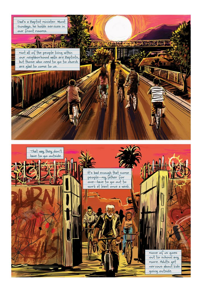 """Image: A page from """"Parable of the Sower."""" The page features two horizontal panels. The top panel shows a group of people bicycling down a street. The bottom panel shows the group of bicyclers passing through the gate of a fortified wall. Words by Damain Duffy, art by John Jennings. Image courtesy of Damian Duffy."""