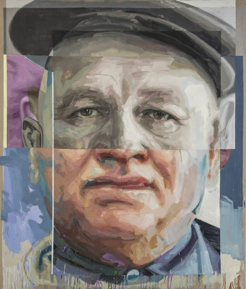 "Image: Patrick Earl Hammie, ""Romare Bearden,"" 2018. Portrait of Romare Bearden. A single male figure is pictured from the neck up. The top of the face appears older, and the bottom of the face appears younger. The man looks out at the viewer. He wears a newsboy cap. Image courtesy of the Smithsonian Institution Traveling Exhibition Service and the artist."
