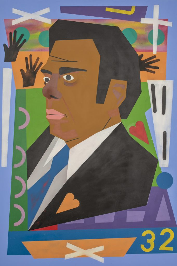 """Image: Nina Chanel Abney, """"Untitled,"""" 2018. A portrait of politician Andrew Young. Young is pictured in three-quarters view looking to the left. He wears a black suit and bright blue tie. An orange heart is on the lapel. He is surrounded by brightly colored flat shapes, including hands, a cross, a heart, and the number 32. Image courtesy of the Smithsonian Institution Traveling Exhibition Service, the artist and Jack Shainman Gallery, New York."""