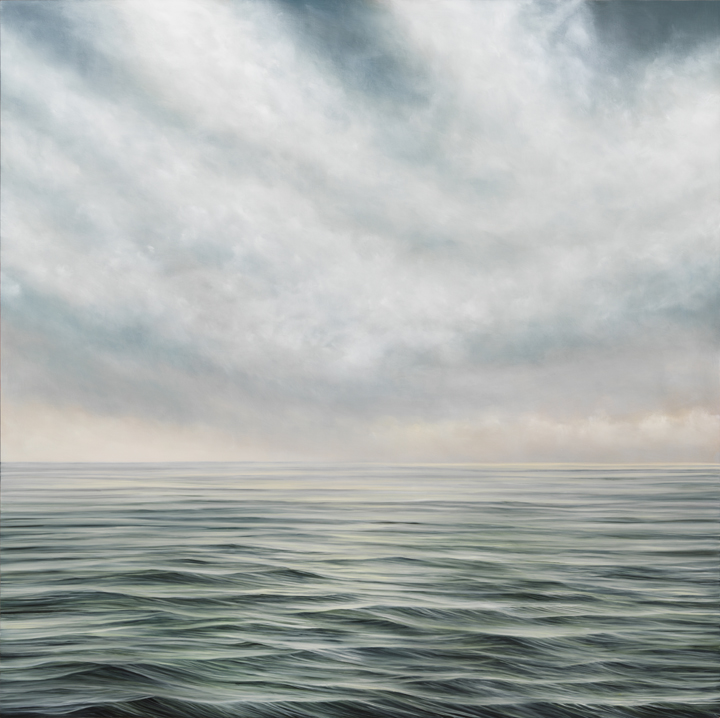 """Image: As It Is #624, oil on panel, 48"""" x 48"""", 2020. The square painting looks out into the green and blue body of water. The waves are a bit choppy. As the viewer looks further out into the horizon, it turns into a pale blue. The sky above the water is a light blue with heavy clouds. Photo by Tom Van Eynde."""