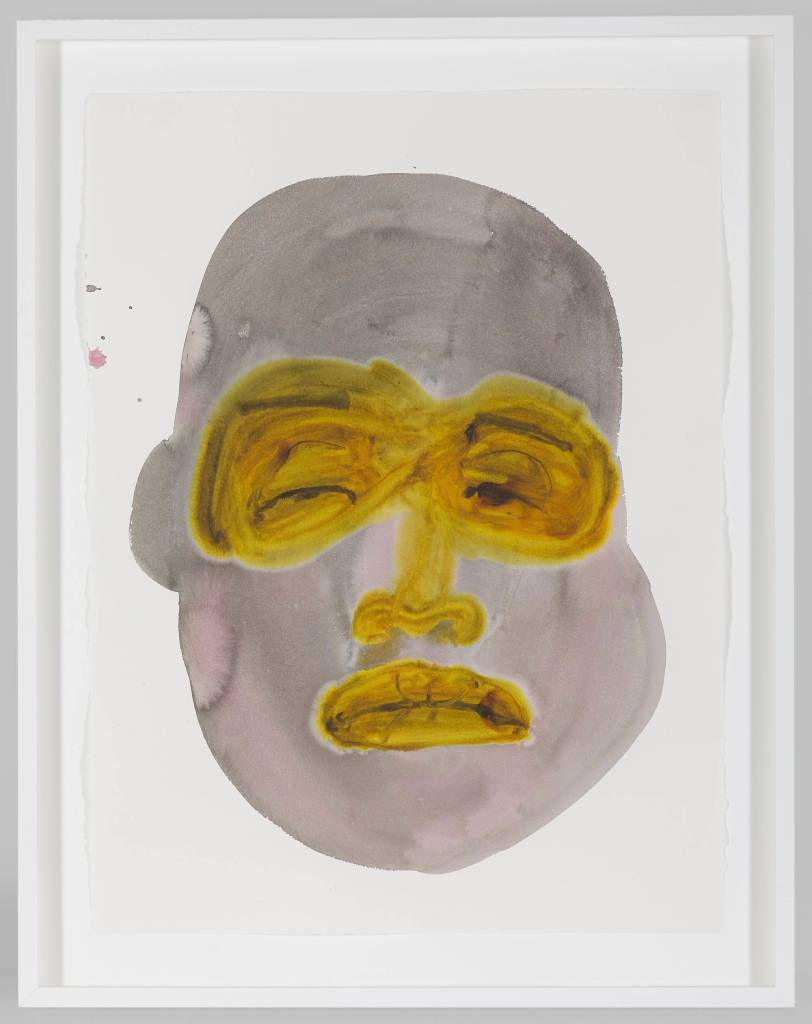 """Image: Cluttered Contradictions by February James, 2020. 30 x 22"""", watercolor and ink on paper. An expressive watercolor portrait is depicted in gray and pink hues. The eyes, nose, and lips of the face are mustard yellow. The portrait exudes an unconvinced expression. Image courtesy of the artist and Monique Meloche Gallery."""