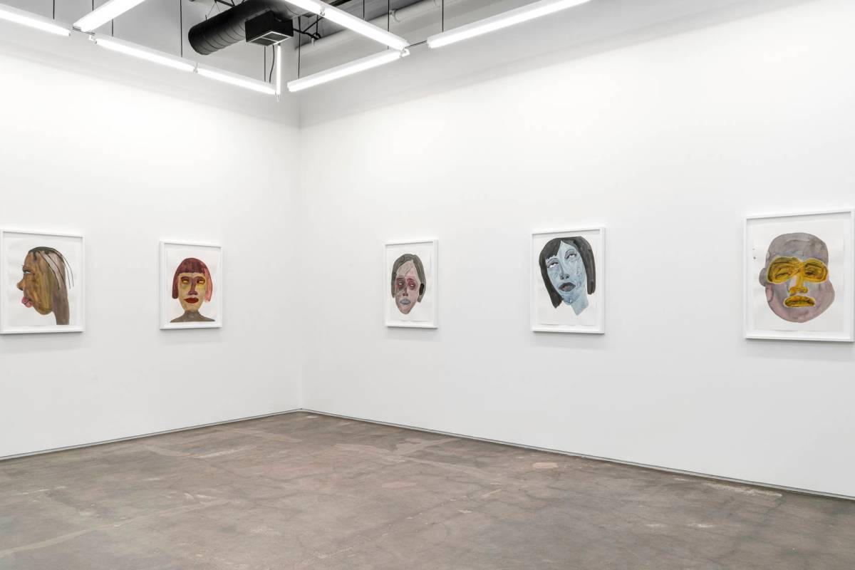 Featured Image: Work by February James. We Laugh Loud So The Spirits Can Hear, 2020. Installation view. Five highly expressive, framed watercolor portraits hang in the gallery. Image Courtesy of the artist and Monique Meloche Gallery.