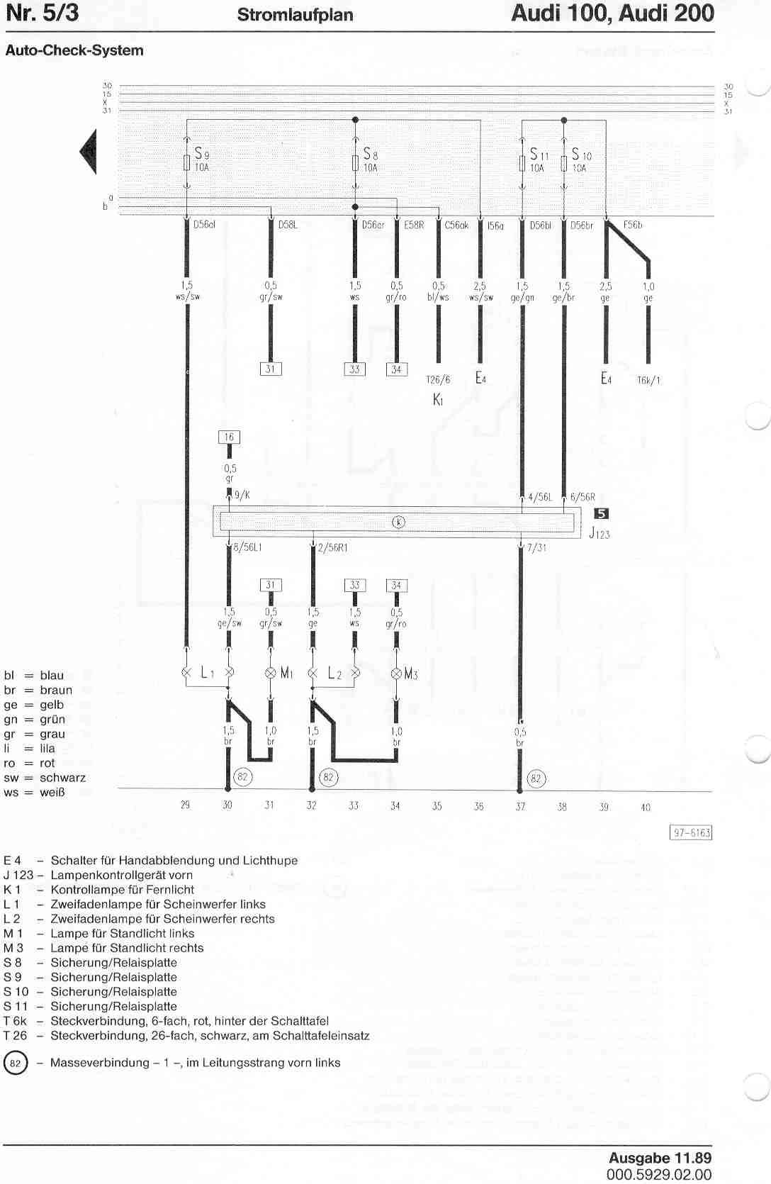 Audi 100 200 Factory Wiring Diagrams