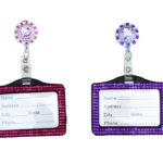 SIZZLE CITY Custom Bling Rhinestone Hello Kitty Flower Retractable Badge Reel & Horizontal Bling ID Badge Holder Combo Set
