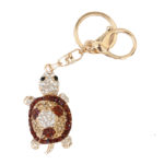 Gold Custom Bling Brown Rhinestone Turtle Key Chain and Purse Charm