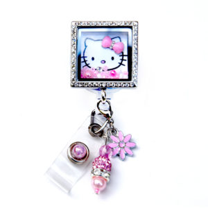 Square Hello Kitty Charm Locket Badge Reel Retractable ID Badge Holder: Featured Image