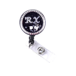 RX Pharmacist Pill Charm Locket Retractable ID Badge Holder: Featured Image