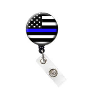 Thin Blue Line Flag Badge Reel Retractable ID Badge Holder: Featured Image