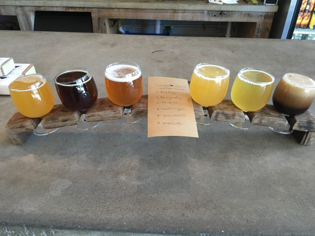 A flight of beers at Commonwealth Brewing Company