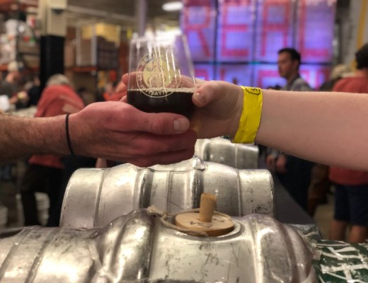 A beer handoff from the 2019 Yards Brewing Company Real Ale Invitational