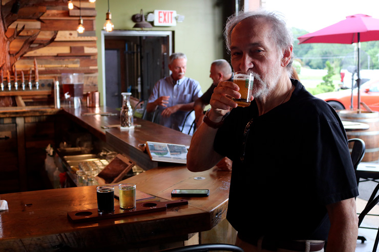 Gary Monterosso samples a flight at Core3Brewery in Clayton, New Jersey
