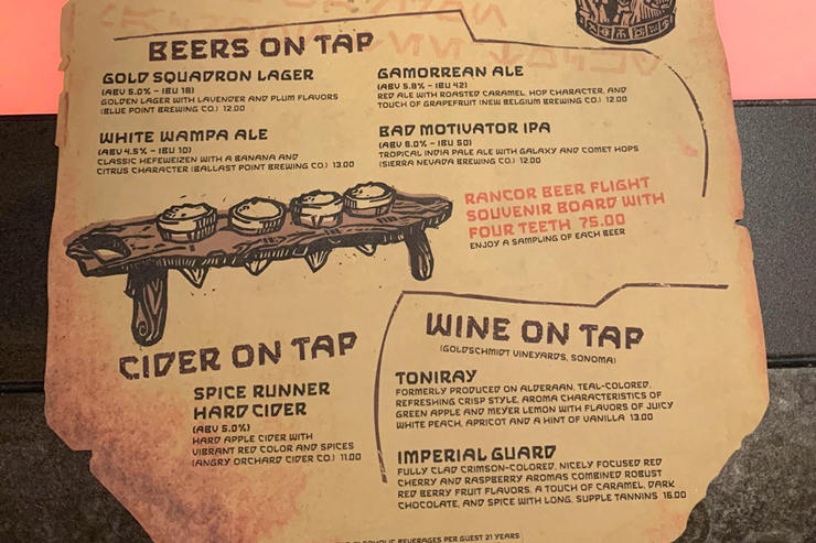 The Beer and Wine Menu at Olga's Cantina - Star Wars Galaxy's Edge